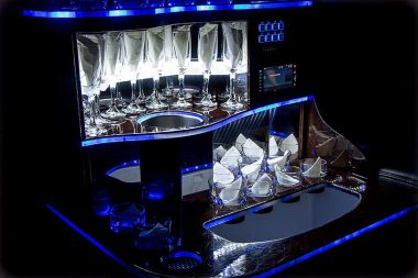Glassware in Le Limo Vehicle